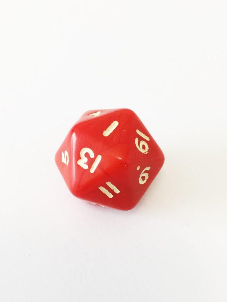 icosahedro D20 20 caras rojo